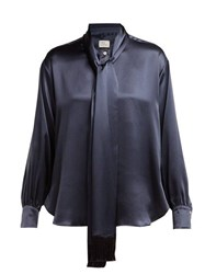 Hillier Bartley Tie Neck Silk Satin Blouse Navy