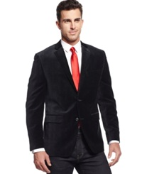 Alfani Red Slim Fit Glen Plaid Velvet Sport Coat