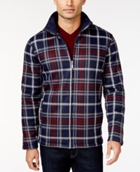 Club Room Big And Tall Plaid Full Zip Fleece Jacket Only At Macy's Navy Blue