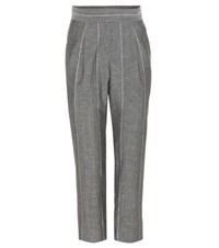 Brunello Cucinelli Striped Wool And Linen Trousers Grey