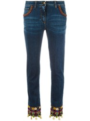 Etro Embroidered Jeans Blue