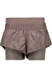 Adidas By Stella Mccartney Mesh Trimmed Shell And Stretch Jersey Shorts Mushroom