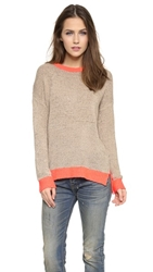 Top Secret Boardwalk Crew Sweater Taupe Neon Coral