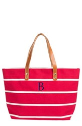 Cathy's Concepts Monogram Stripe Tote Coral
