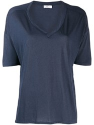 Closed Short Sleeve Flared T Shirt Blue