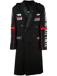 Ktz Embroidered Double Breasted Coat Black