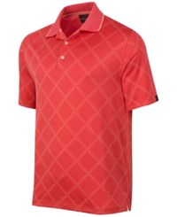 Greg Norman For Tasso Elba Men's Diamond Jacquard Performance Golf Polo Deepsea Coral