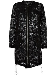 Moschino Hooded Zipped Lace Coat Black