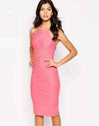 Oh My Love Keyhole Midi Bodycon Dress Pink