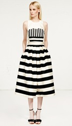 Tibi Escalante Striped Silk Full Skirt