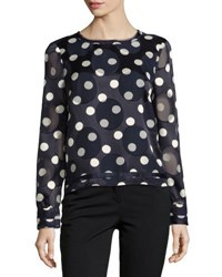 Pink Tartan Polka Dot Long Sleeve Crepe Blouse Blue White