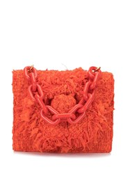 Oscar De La Renta Fluffy Shoulder Bag Red