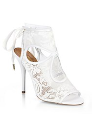 Aquazzura Sexy Thing Bridal Lace Mesh Booties White