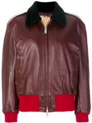 Calvin Klein 205W39nyc Colour Block Zip Jacket Lamb Skin Lamb Fur Red