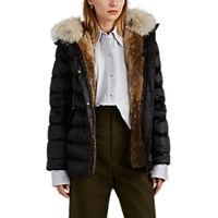 Army By Yves Salomon Fur Trimmed And Fur Lined Down Puffer Jacket Black