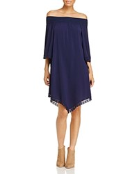 Design History Smocked Off The Shoulder Dress Nautica Blue