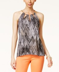 Thalia Sodi Printed Chain Neck Cutout Halter Top Only At Macy's Deep Black Combo