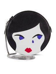 Lulu Guinness Black Leather Doll Face Cross Body Bag