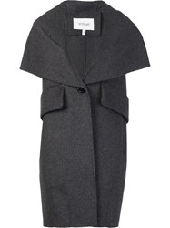 Derek Lam 10 Crosby Sleeveless Shawl Collar Coat Grey