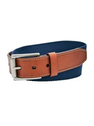 Fossil Two Tone Textured Belt Navy