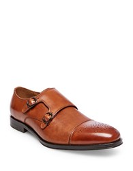 Steve Madden Dauphen Leather Double Monk Strap Dress Shoes Tan Leather