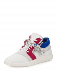 Giuseppe Zanotti Jewel Strap Colorblock Leather Sneaker White