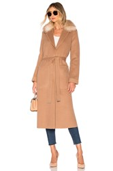 Soia And Kyo Ivonne Coat With Fur Collar Tan