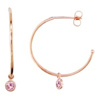 London Road 9Ct Rose Gold Large Pimlico Dew Drop Hoop Earrings Tourmaline