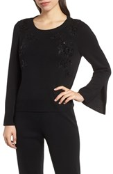 Ming Wang Mink Sequin Sweater Black