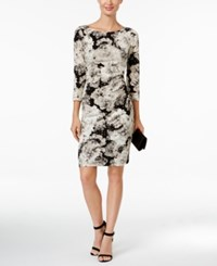 Jessica Howard Ruched Metallic Floral Print Sheath Dress Black White