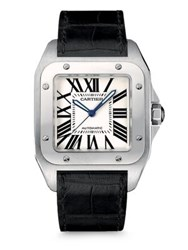Cartier Santos 100 Automatic Large Stainless Steel And Alligator Strap Watch Black