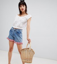Reclaimed Vintage Revived Levi's Shorts With Gingham Frill Mid Wash Blue