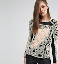 A Star Is Born Embellished Jacket With Quilted Detail Multi