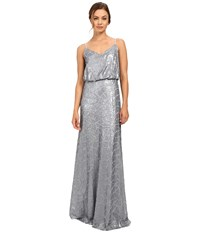 Donna Morgan Blouson Sequin Gown Steel Blue Women's Dress