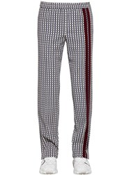 Valentino Optical Print Wool Pants Beige Navy Red