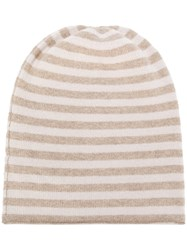 Danielapi Horizontal Striped Beanie Nude And Neutrals