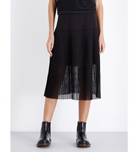 Izzue Flared Pleated Midi Skirt Black