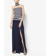 Striped Cashmere Tube Top And Collar Maritime Wht