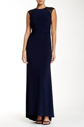 Js Boutique Beaded Cap Sleeve Back Cutout Gown Blue