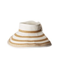 San Diego Hat Company Ubv042 Roll Up Visor With Stripe Pattern And Bow Closure White Casual Visor