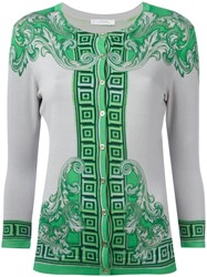 Versace Collection Neon Print Buttoned Cardigan Green