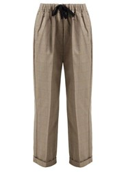 Chimala Checked Cotton Drawstring Waist Trousers Brown