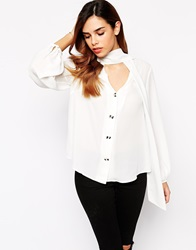 Jovonna Britt Blouse With Bow Buttons Cream