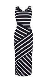 Karen Millen Wide Stripe Jersey Midi Dress Black White Black White
