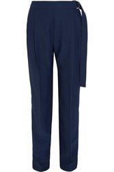 Carven Crepe Wide Leg Pants Navy