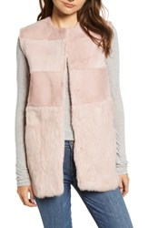 Love Token Collarless Genuine Rabbit Fur Vest Blush