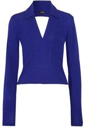 Atlein Cutout Draped Stretch Jersey Top Royal Blue