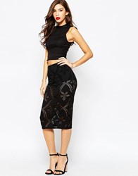 Asos Pencil Skirt With Laser Cutting And Knicker Short Black