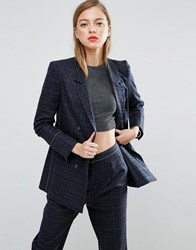 Asos Mansy Suit Blazer With Contrast Stitch Check Multi