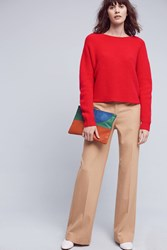 Anthropologie Cashmere Twist Back Pullover Red